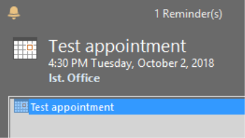MS Outlook 2016 reminders not popping up